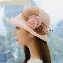 High End Classic Summer Folding Beach Sun Hat Lady Organza Flower Bowknot Bow Tie Grace Fedora Female Cute Hemming Hats