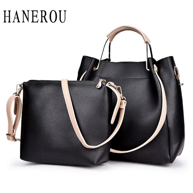 ФОТО 2Pcs Woman Bags 2016 Bag Handbag Fashion Handbags Pu leather Women's Shoulder Bag Elegant Ladies Composite Bag Sac Femme Marque