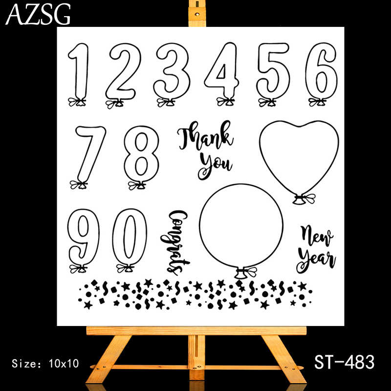 AZSG Heart-shaped Circular Number Balloon Clear Stamps For DIY Scrapbooking/Card Making/Album Decorative Silicone Stamp Crafts