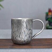Pure Handmade Foot Silver 999 Cup Coffee mark Make Health Care Male And Female Universal Kung Fu Tea set