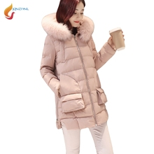JQNZHNL 2017 Winter Women Coats Big Pocket Long Cotton Coats And Jackets Fashion Thicken Hooded Down Cotton Jackets Outwear L283