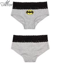 Women Briefs HERO Batman Superman sexy Cartoon Printed Lace Cotton Panties Breathable Ropa Interior Triangle Female underpants