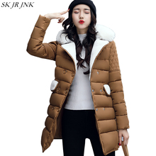 Women Warm Wool Blend Wadded Parka 2017 New Winter Padded Jacket Quality Fashion Loose Long Coat Plus Size Cashmere Parkas WFY77