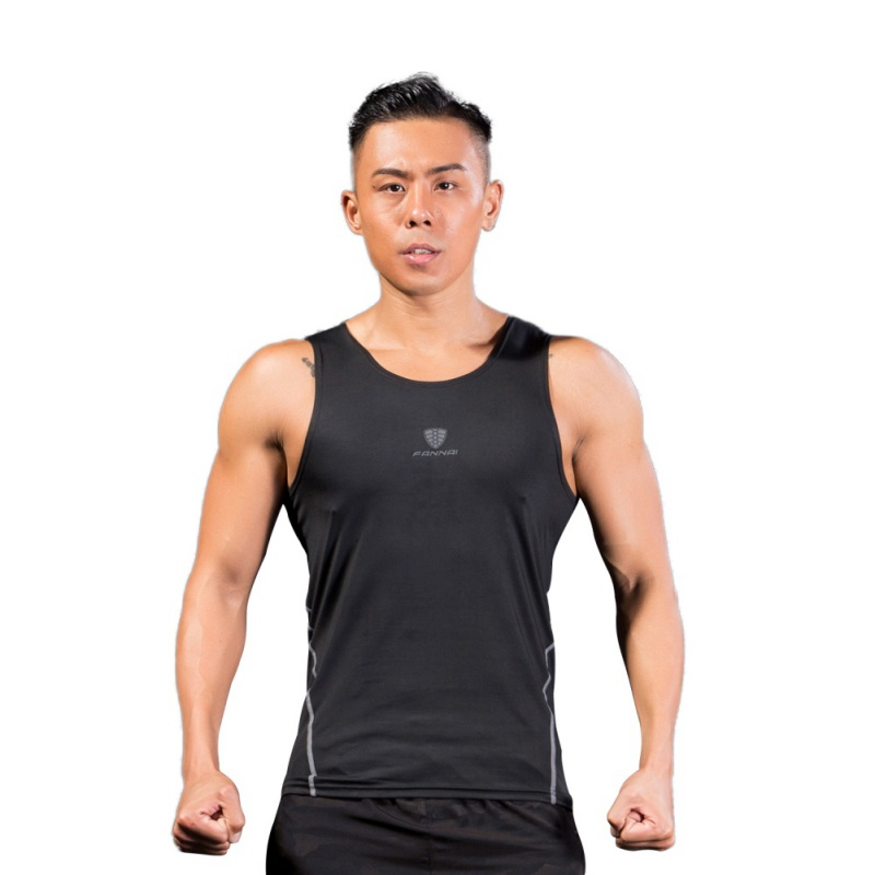 Hight Quality Men Quickly Dry Compression Tights T Shirt Fitness Sleeveless Sport Running Shirt 2018 nznx