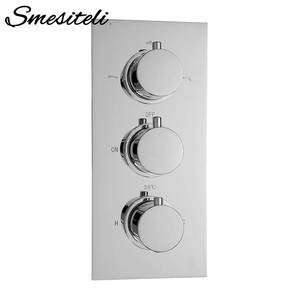 Image 1 - Grifo de ducha con acabado en latón cromado, 100% de alta calidad, válvula de ducha termostática oculta, grifo de agua redondo de 3 vías