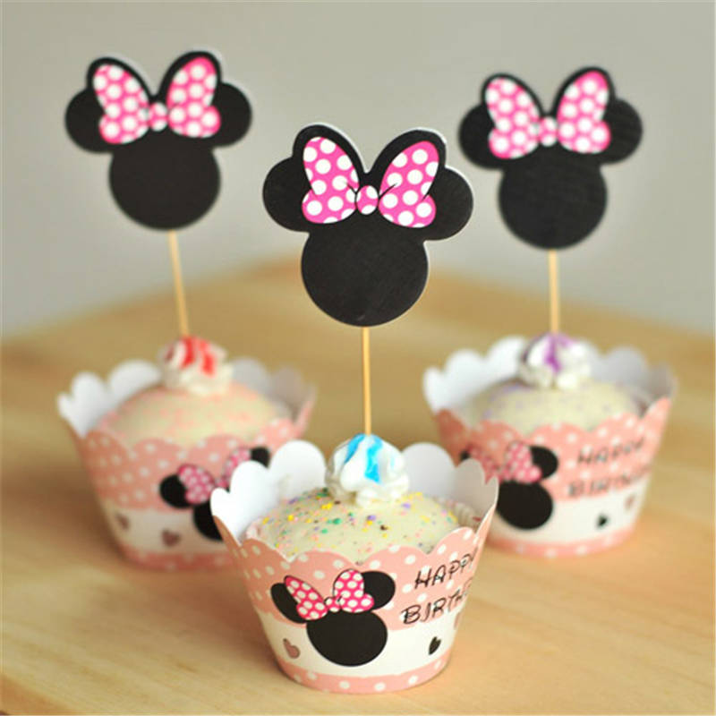 Hot Sale Event Party Supplies Birthday Decoration Cupcake Wrappers Minnie Mouse For Kids Cup Cake Toppers Picks