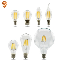 LED Edison Bulb E27 G45 A60 C35 LED Bulb E14 G80 G95 G125 Filament Light 220V 2W 4W 6W 8W Antique Retro Vintage Glass Bulb Lamp 2w 4w 6w frosted cob led lamp g45 c35 e14 e27 led bulb candles flame 220v 230v 240v edison crystal chandeliers light source