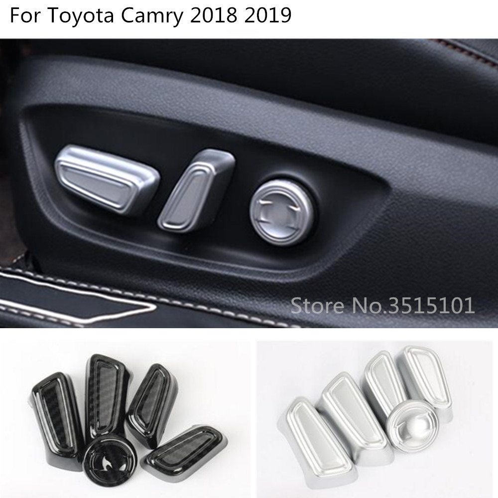 Car Abs Chrome/carbon Fiber Seat Adjustment Knob Button Switch Trim Hoods Part 5pcs For Toyota New Camry Xv70 2017 2018 2019 To Suit The PeopleS Convenience Interior Accessories