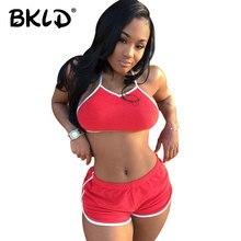 BKLD 2018 New Women Fashion Clothing Sets Fitness Sleeveless Halter Crop Tank
