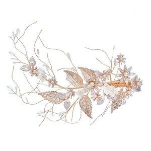Image 4 - Jonnafe Hochzeit Haar Crown Clip Gold Leaf Floral Braut Haar Schmuck Handgemachte Vintage Frauen Prom Kopfstück Zubehör
