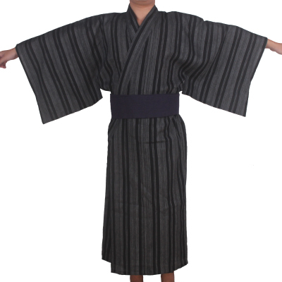 3pc/set Kimono Sleepwear Japan Kimono Bathrobe Mens Cotton Dressing Gown Male Lounge Robes With Obi Summer Pajamas Set A52802