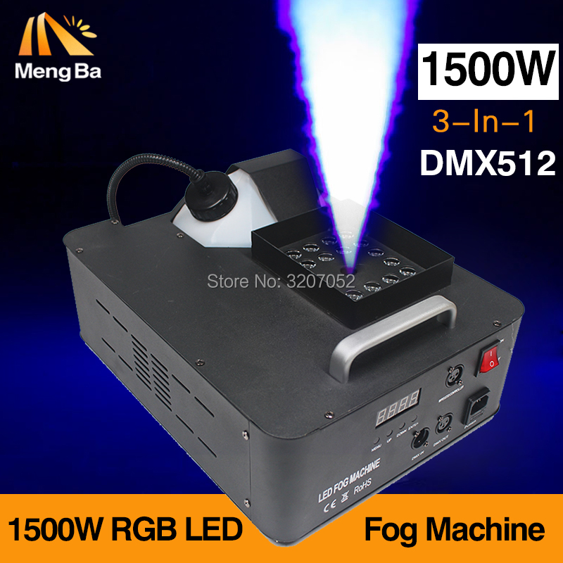 MengBa 1500W RGB 3in1 512 DMX LED Fog Machine Smoke Machine 24X3w Light Fogger RGB 3in1 LED Colorful Fog Machine