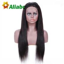 3d16ad9ad9b5b Aliabc الهندي الدانتيل أمامي إغلاق مستقيم 100% الإنسان خصلات الشعر المستعار للنساء  السود اللون الطبيعي غير تمديدات شعر ريمي