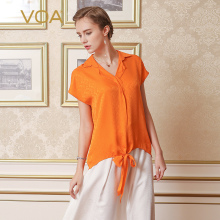 VOA casual pure Silk Shirt for Women 2017 Summer orange Color V-Neck Short Sleeve Tops B172