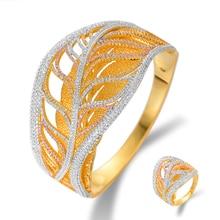 Siscathy Trendy Full Cubic Zirconia Women Bangle/Ring Luxury Wedding Bridal Engagement Jewelry Sets 2019 New Design