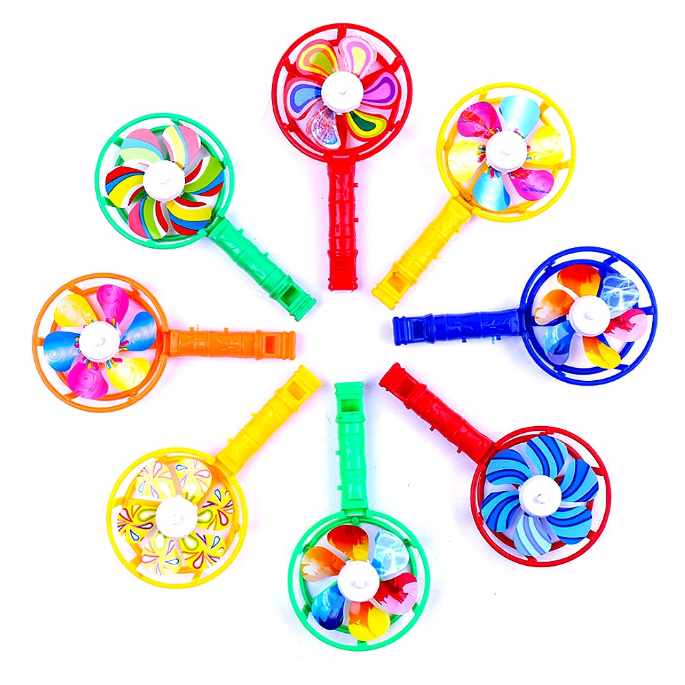 Cute Baby Kids Windmill Toy Colorful Small Windmills Toy Children Plastic Windmill Whistling Handle Toys Pinwheel Wind Spinner