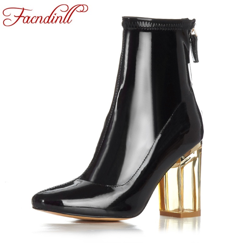 FACNDINLL high qulaity ankle boots shoes for women new fashion patenr leather thick high heels zipper black women riding boots high qulaity black
