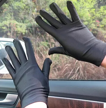 Spring And Autumn Women's Summer Thin White Etiquette Gloves Black Elastic Tight Spandex Gloves Lady's Driving Gloves