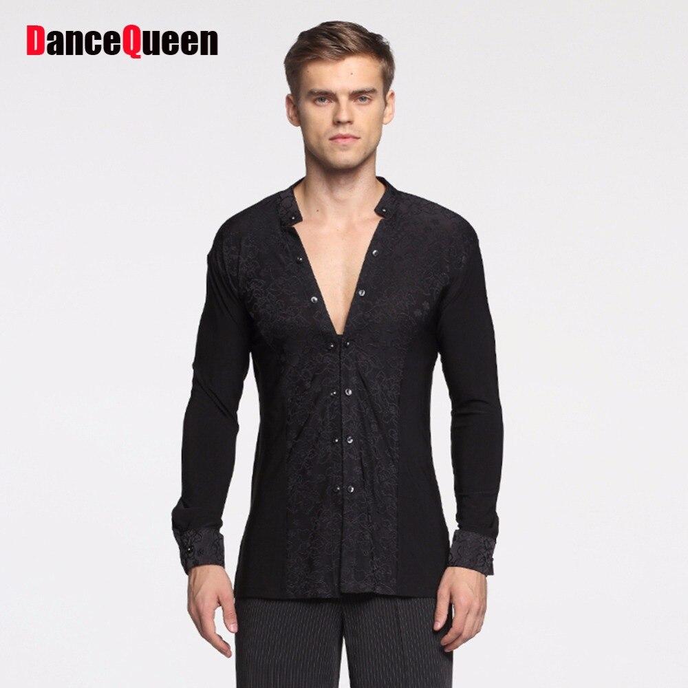 Cheap Latin Dancing Shirts For Males White Black Long Sleeve Bottom Tops Men Adult Tango Ballroom Fashionable Profess Coat 10455