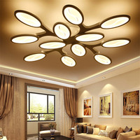 European Salon Drawing Living Bed Dining Room Long Tree Branch Dimmable Led Modern Chandelier Light Lighting Contemporary Remote