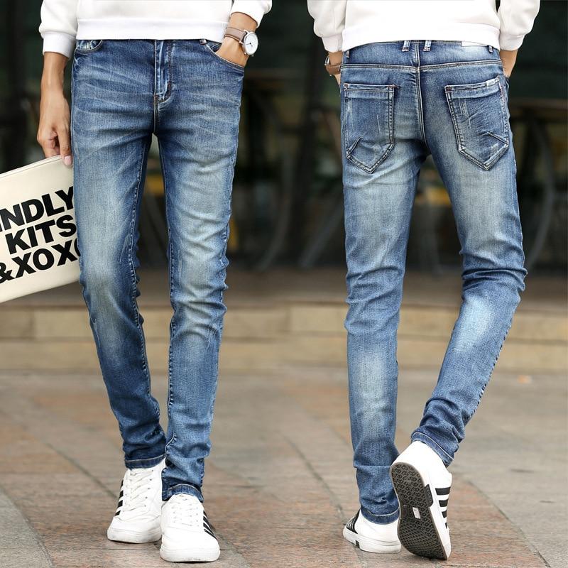 Men Jeans 2019 Fashion Spring Hip-hop High Waist Skinny Slim Fit Blue Denim Pants for Plus Size