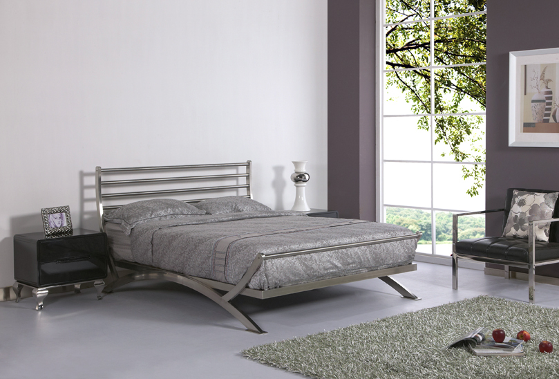 luxury bed stainless steel metal bed iron bed bedroom