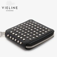 vieline women genuine leather rivet short wallet,lady standard short wallet,real leather short purse,free shipping