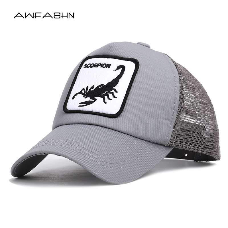 New Fashion Scorpion Embroidered   Baseball     Cap   Women Men Summer Animal Mesh Hat Unisex Snapback Bone Adjustable Gorras Streetwear