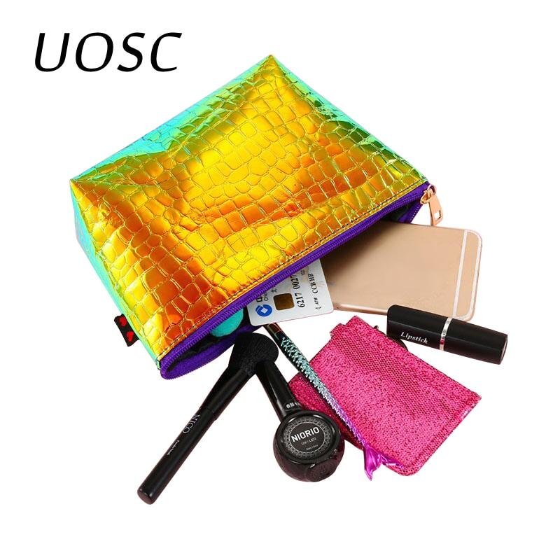 UOSC New Capacity Portable Women Makeup Bag Organizer Laser PU Ladies Travel Cosmetic Case Summer Hologram Toiletry Storage Bag