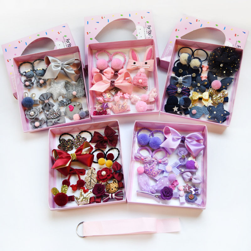 18pcs / box cute child hair accessories baby cloth flower bow hairpin brooch clip tiara headdress gift