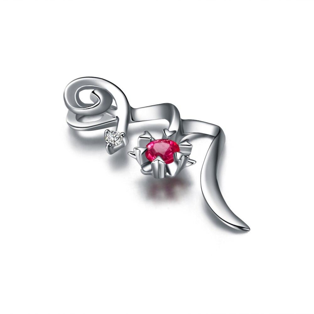 Натуральный рубин, 18 К, белое золото, рубин, подвеска, 925 пробы, серебряная цепочка, ожерелье, рождественский подарок, хорошее ювелирное изделие