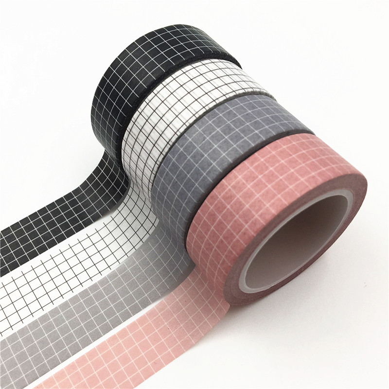 AYRON 10M Black White Grid Washi Tape Japanese Planner Masking Tape Adhesive Tapes