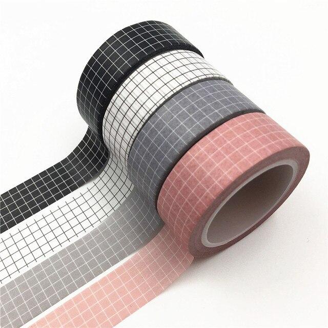 10M rejilla blanca y negra Washi cinta papel japonés DIY planificador cinta adhesiva pegatinas cintas decorativas papelería cintas