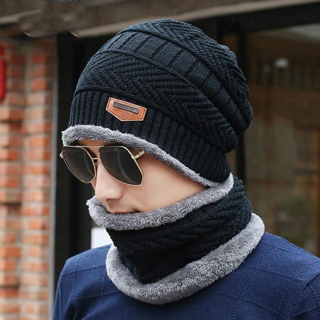 01b8802ca2b 2018 Autumn Winter Plus Cashmere Caps Men s Knitted Hat Bib Two-piece Arrow  Leather Standard