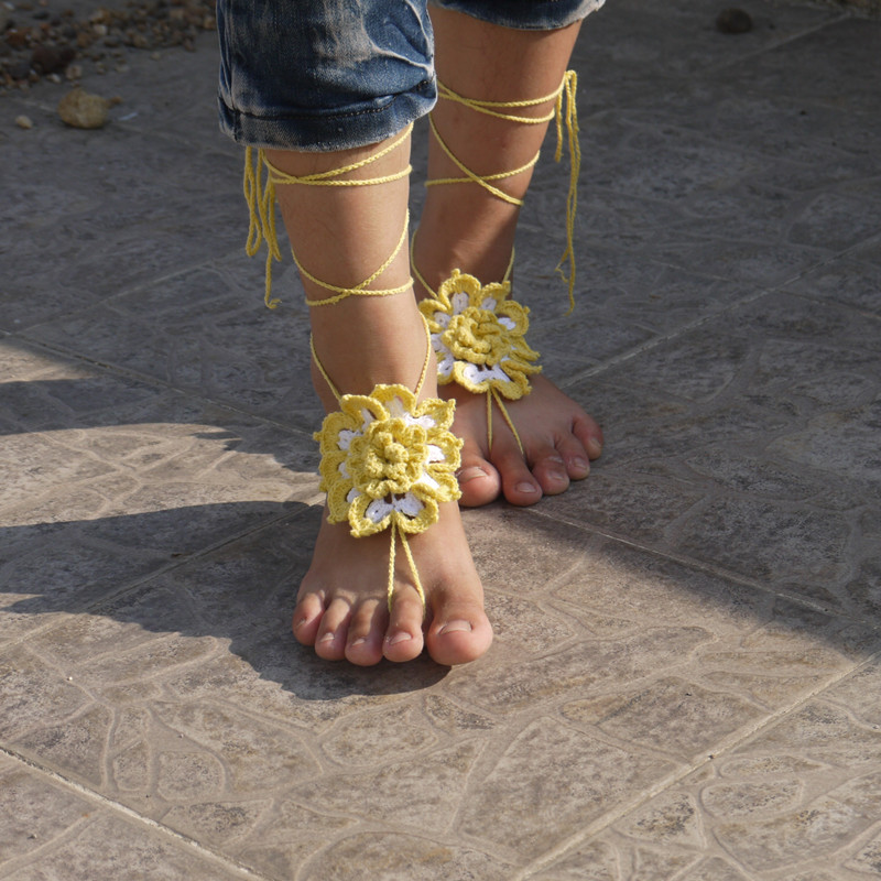 Gothic Barefoot Sandals White With Yellow Big Daisy