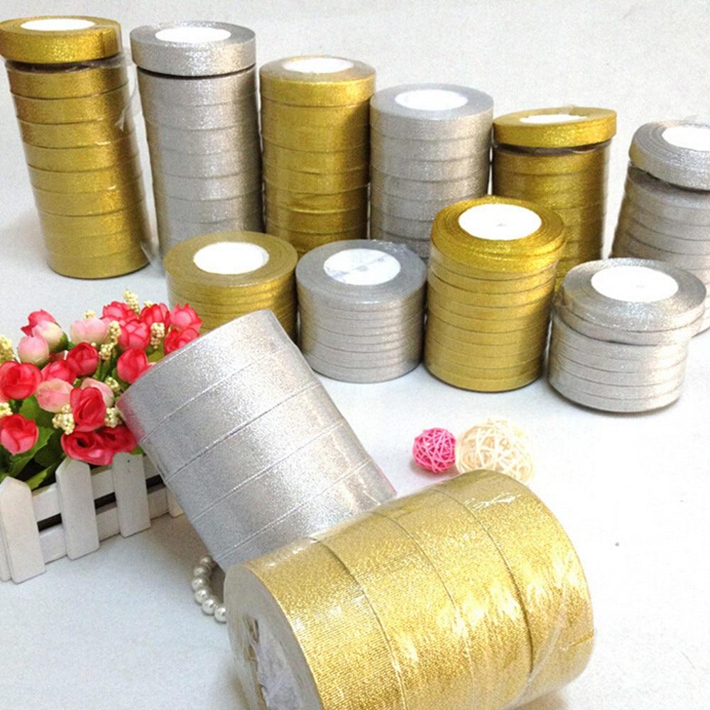 25 метров 6 мм серебро/золото шелковые, атласные ленты вечерние Главная Свадебные для упаковки подарков Рождество Новый год DIY Материал