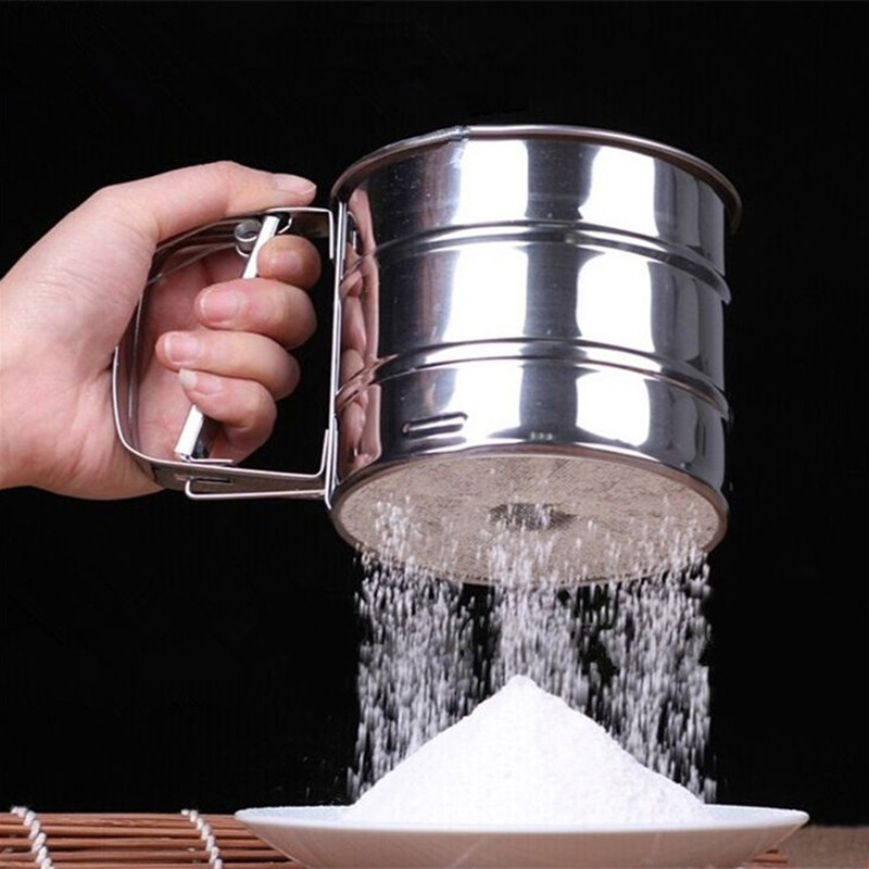 Sifters Shakers Stainless Steel Mesh Flour Sifter Mechanical Baking Icing Sugar Shaker Sieve Tool Cup Shape Kitchen Tools 35