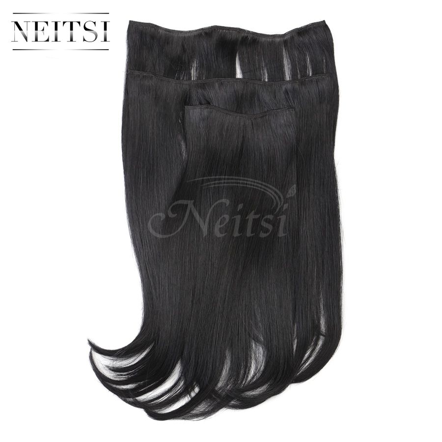 Купить с кэшбэком Neitsi 14'' 3Pcs/Set 75g Clip in on Synthetic Hair Extensions Straight Hairpieces Black 890K#