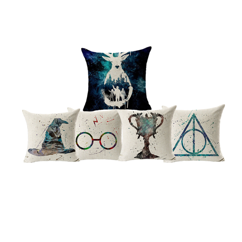 Monily Linen Cotton Square Cushion Cover Deathly Hallows Sorting Hat Harry Potter Throw Pillow Cover Decor Sofa Chair Pillowcase