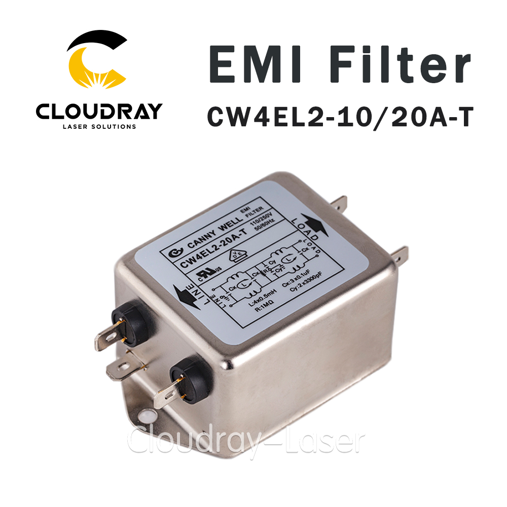 Cloudray Power EMI Filter CW4L2-10A-T / CW4L2-20A-T Single Phase AC 115V / 250V 20A 50/60HZ Free Shipping