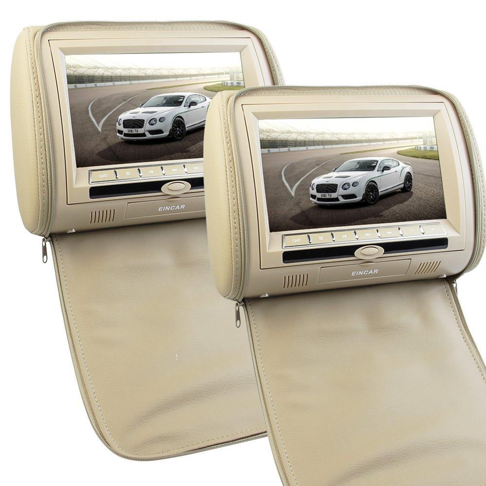 2 x 9 inch Digital Display Screen Headrest DVD Player Beige Car Headrest Video Player Support USB/SD/IR/FM Transmitter+Remote car headrest 2 pieces monitor cd dvd player autoradio black 9 inch digital screen zipper car monitor usb sd fm tv game ir remote