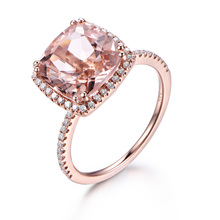 MYRAY Pink Morganite Engagement Ring,9mm Cushion Cut Stone,14K Rose Gold,Diamond Band,Bridal Wedding Ring,Anniversary Gift
