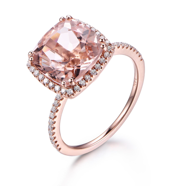 Myray Pink Morganite Engagement Ring,9mm Cushion Cut Stone,14k Rose Gold, Diamond Band,bridal Wedding Ring,anniversary Gift