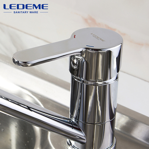 Image 3 - LEDEME Kitchen Faucets New Single Handle Pull Out Kitchen Tap Single Hole Handle Crane Chrome Plated Sink Mixer Tap L4903