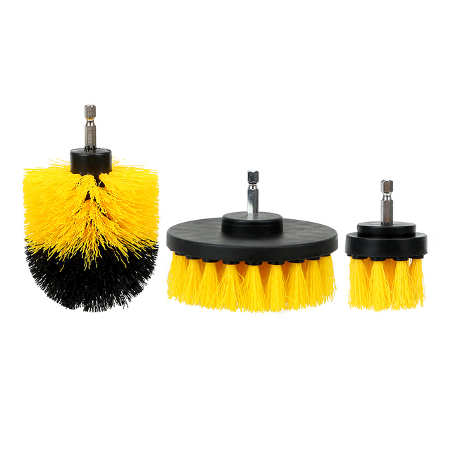 3pcs/set Car Cleaning Tool Auto Detailing Cleaning Hard Bristle Car Auto Care Car Brush Drill Scrubber Brush Kit 3