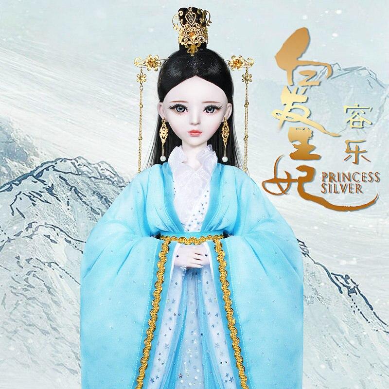 60 CM princesse chinoise argent fait à la main 1/3 Bjd poupées peint à la main maquillage 23 Joint ancien Costume filles poupée jouets pour enfants