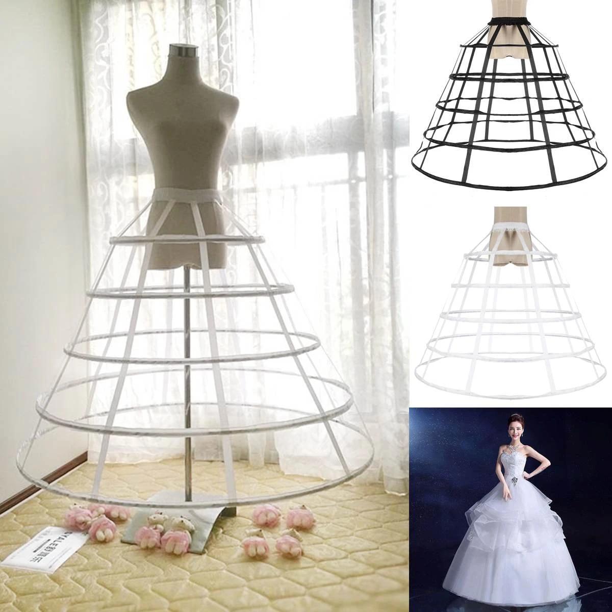 Women Cage Wedding Bridal Dress Crinoline Ball Gown Pannier Petticoat 5 Hoop