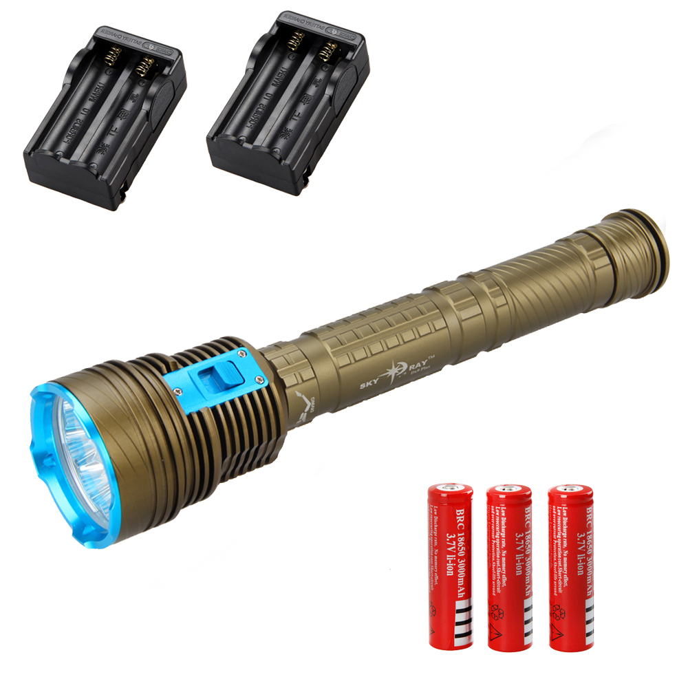 18000LM 9*XM-L2 LED Waterproof SCUBA Diving Flashlight Torch Light Headlight with 3x 18650 Battery +Two Chargers waterproof ultraviolet diving light 3x uv led lamp diving flashlight scuba torch dive lanterna pcb 26650 battery eu charger