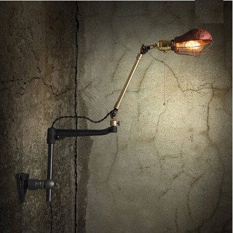 Swing Arm Loft Style Edison Industrial Wall Lamp Antique Copper Bathroom Light Vintage Wall
