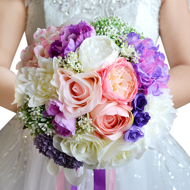 Kyunovia Charming Bridal Bouquet Assorted Color Wedding Brooch